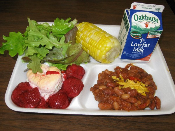 An example of a meal made with locally grown food served in the Portland school system.