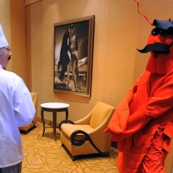Clawd the lobster and his handler Stephan the chef are the characters Hollywood Casino came up with to promote responsible gaming at the facility this week.
