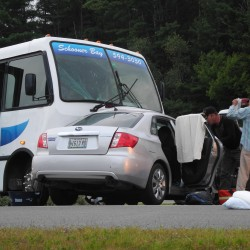 Police said Saturday evening that witnesses said the driver of the Subaru appeared to turn left into the path of the oncoming charter bus at the intersection of U.S. Route 1 and Northport Avenue in Belfast.