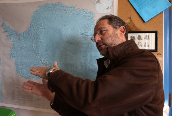 Northern Illinois University geology professor Reed Scherer in front of a map of Antartica in his office ahead of his group's coming Antartic trip in DeKalb, Illinois, on November 8, 2012. Scherer and a handful of his students are leaving to study the frozen continent where temperatures hover around 5 degrees Fahrenheit and 90 mph winds create massive snowdrifts and whiteouts.