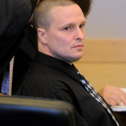 Jason Trickett during the first day of his trial at the Penobscot Judicial Center in Bangor Monday. Trickett is charged with manslaughter for the mortal stabbing of Andy Smith on First Street on May 22, 2012.