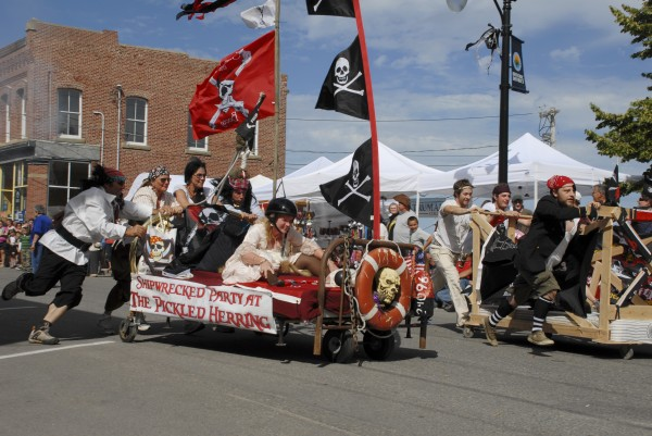 Participating teams compete in the Pirate Bed Race held during the Eastport Pirate Festival at Eastport in 2012.