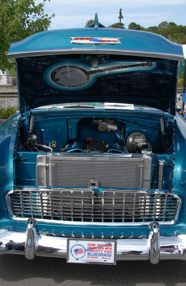 Ron Desjardin of Lakeview Plantation brought to the Sixth Annual Bangor Car Show a 1955 Chevrolet decked out in a bluegrass motif.