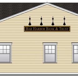 Sketch of Bar Harbor Bank & Trust, 25 Church Street, Deer Isle – after renovations, street view with entrance on the left.