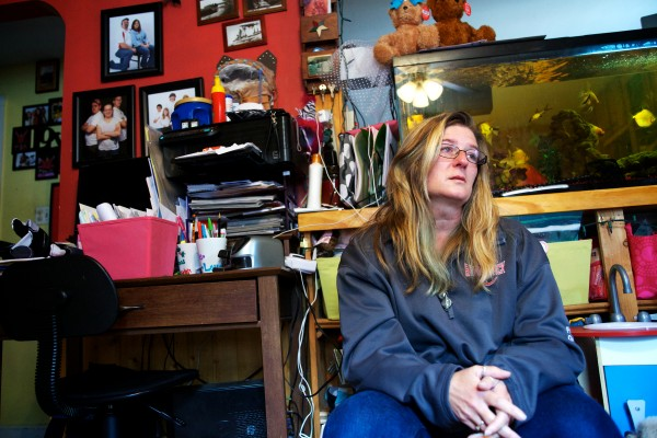 Gail Gary, whose husband, Phil, died suddenly two weeks ago, speaks from the living room of her Brunswick home Tuesday, thanking those who have shown their support for her and her eight children.