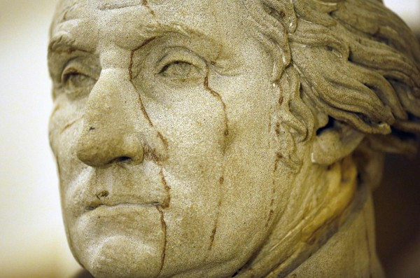 A statue of George Washington, the first president of the United States, is seen near the office of U.S. Speaker of the House John Boehner in the U.S. Capitol building in Washington October 1, 2013. The U.S. government began a partial shutdown on Tuesday for the first time in 17 years, potentially putting up to 1 million workers on unpaid leave, closing national parks and stalling medical research projects.
