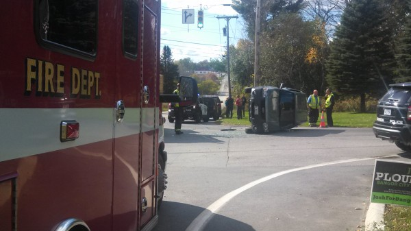No one was seriously injured when two Ford Escape SUVs collided at the intersection of Griffin Road and Kenduskeag Avenue, flipping one vehicle onto its side, on Sunday, Oct. 20, 2013.