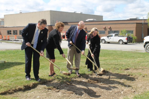 Officials participate in the ceremonial groundbreaking for Northern Maine Community College''s new Rodney Smith Wellness and Akeley Student Centers on Tuesday, May 14, 2013.