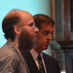 Christopher Knight, left, stands with his attorney, Walter McKee, during a dispositional conference at Kennebec County Superior Court in Augusta on Tuesday.