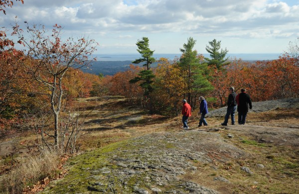 Hikers and those interested in seeing the fall colors from Ragged Mountain in Camden use the antiquated ski lift installed in 1975 at the Camden Snow Bowl on Sunday.