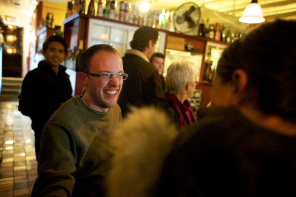 Newly elected city councilor Joshua Plourde celebrates at Nocturnem Draft Haus Tuesday evening on election night in Bangor.