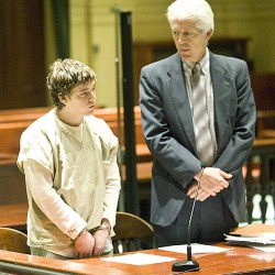 Justin Leary, right, looks to his client, Sebastian Moody, as he pleads guilty in Androscoggin Superior Court Monday afternoon.