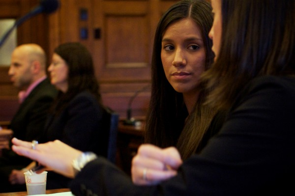 Alexis S. Wright, 29, of Wells listens to her lawyer, Sarah Churchill, in Cumberland County Superior Court Tuesday Oct. 9, 2012. Churchill recently said that Wright has no plans to write a tell-all book.