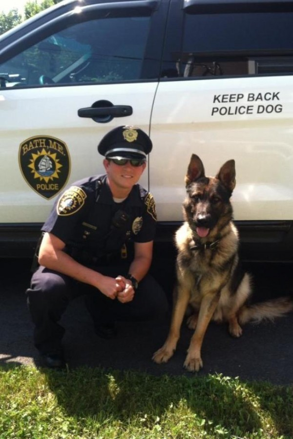 Michelle Small, Bath's canine patrol officer, recently became the Bath Police Department's first supervisor after being promoted to corporal.
