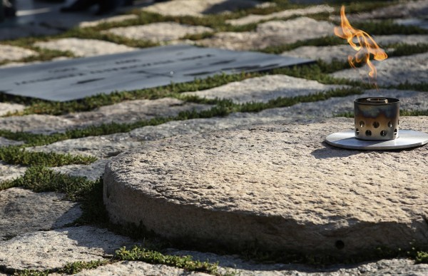 The new, permanent eternal flame is shown at the grave of former President John F. Kennedy at Arlington National Cemetery in Virginia on Oct. 29, 2013. November 22, 2013, marks the 50th anniversary of the Kennedy assassination in Dallas, Texas. A temporary flame was used at the grave during repairs and restoration to the eternal flame.