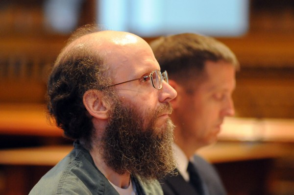 Christopher Knight sits in court with his attorney Walter McKee during his plea agreement at Kennebec Superior Court on Monday in Augusta.