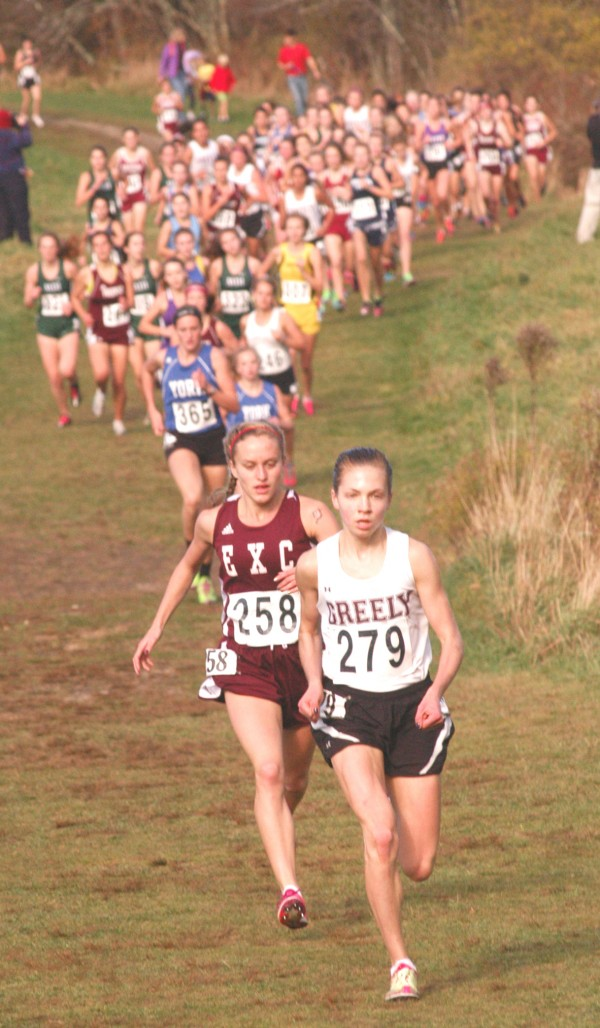 Ellsworth High School's Aleta Looker (258) and Greely's Kirstin Sandreuter (279) took the early lead in the state Class B cross country championships Saturday in Cumberland. Sandreuter went on to win in 18 minutes, 37.96 seconds while Looker was second in 19:49.43. Both will be competing in this Saturday's New England championship in Manchester, N.H.