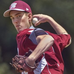 Maine District 3 pitcher Justin Courtney (16) of Bangor delivers a pitch during the Senior League World Series in August in Bangor. Courtney has signed a national letter of intent to attend the University of Maine.