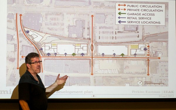 Greg Shinberg of Shinberg Consulting goes over a proposed master plan for the Midtown development project in Portland's East Bayside at a neighborhood meeting in June.