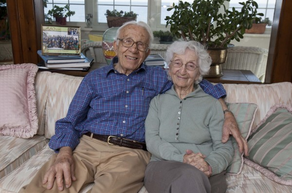 John Betar, 102, and his wife Ann, 98, are seen at their home in Fairfield, Conn., on Wednesday. The couple who eloped in 1932 and will be celebrating their 81st wedding anniversary on Nov. 25, recently received the longest-marriage award from the Worldwide Marriage Encounter.