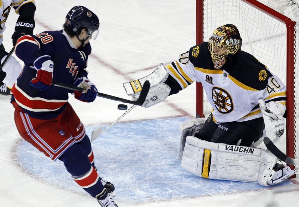Boston Bruins goalie Tuukka Rask (40) makes a save in front of New York Rangers left wing Chris Kreider (20) during the third period at Madison Square Garden in New York Tuesday night. The Bruins won 2-1.