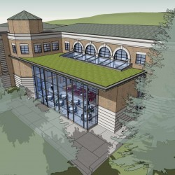 "With a $3 million fund-raising effort nearing completion, Bangor Public Library will undergo major renovations starting in late spring 2014. The renovations will include the addition of a two-story glass atrium to the library's newest wing; a ""green"" roof will top the atrium."