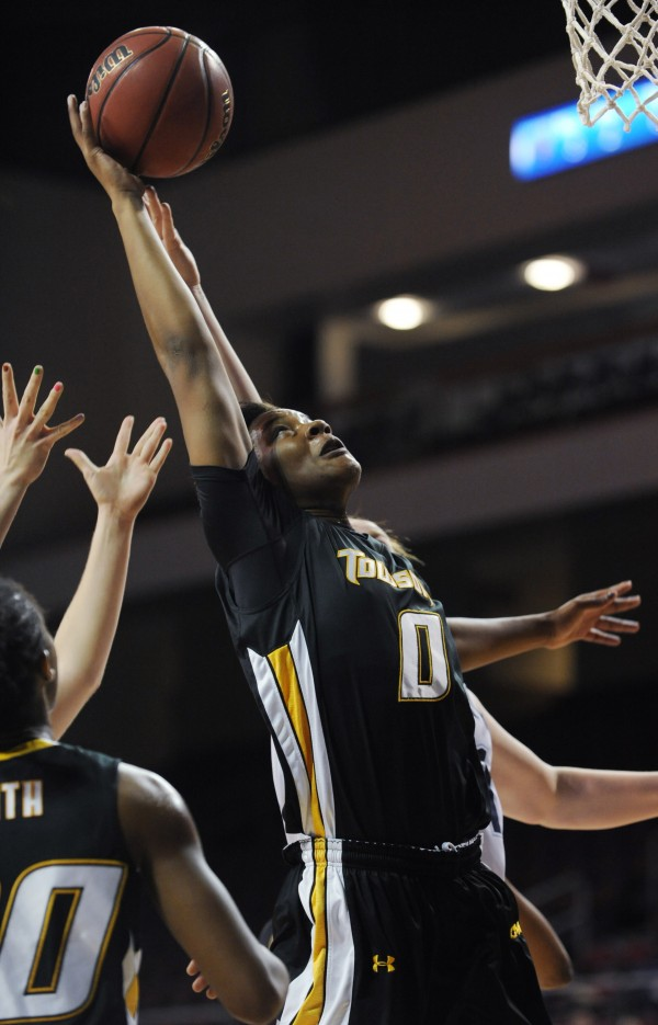 Towson's LaTorri Hines-Allen pulls down a rebound while playing against UMaine during first-half action Saturday at Bangor.