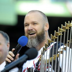 Red Sox catcher David Ross says he's enjoying World Series ride at Husson event