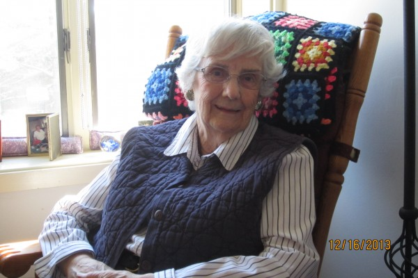 Vivian Murray, now living in  Bangor, spent her first 87 years living in Lubec. Her best friend for more than 75 years crocheted the afghan in this photo, and used to own the rocker that is now in Vivian's room at Phillips-Strickland House.