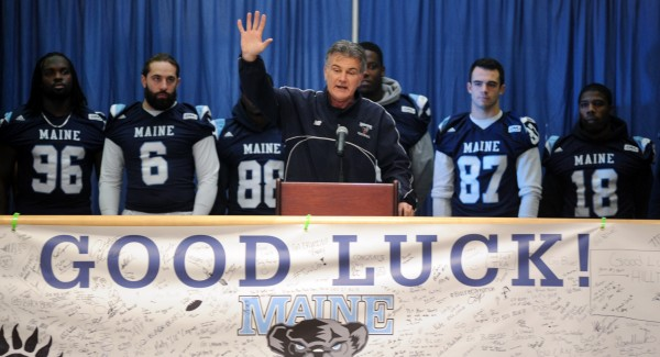 University of Maine head football coach Jack Cosgrove, pictured during a rally prior to the Black Bears' FCS playoff game against New Hampshire, has been named the 2013 American Football Coaches Association FCS Region 1 Co-Coach of the Year.