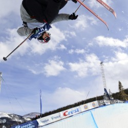 Simon Dumont of the United States skis during the Freestyle Skiing FIS World Cup-men's halfpipe qualifying round at Copper Mountain in Colorado.