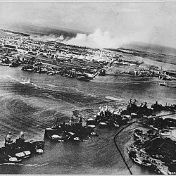 This captured Japanese photograph shows the attack on Pearl Harbor, Hawaii Dec. 7, 1941.