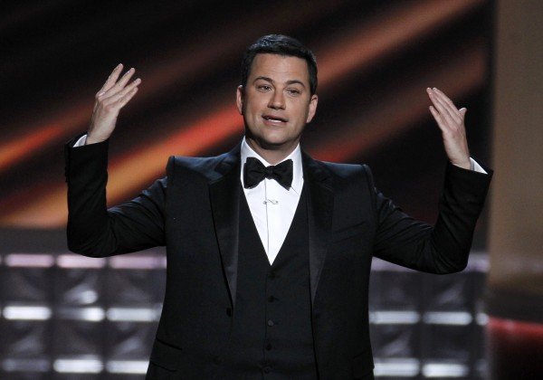 Host Jimmy Kimmel opens the show at the 64th Primetime Emmy Awards in Los Angeles, Sept. 23, 2012.