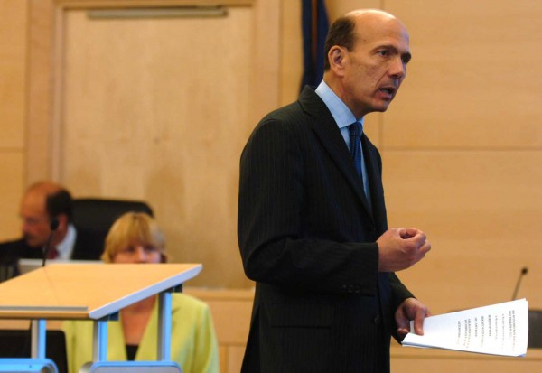 Assistant Attorney General Andrew Benson addresses the jury during the closing arguments of Nathaneal Nightingale's trial on May 31, 2011, at the Penobscot Judicial Center in Bangor.