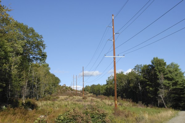 A Bangor Hydro-Electric Co. power transmission line crosses the Down East Sunrise Trail in Franklin.