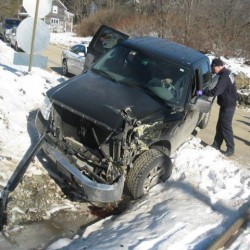 A West Bath man and his 2-year-old daughter escaped serious injury when the pickup truck they were in was struck by a freight train in West Bath on Friday morning.
