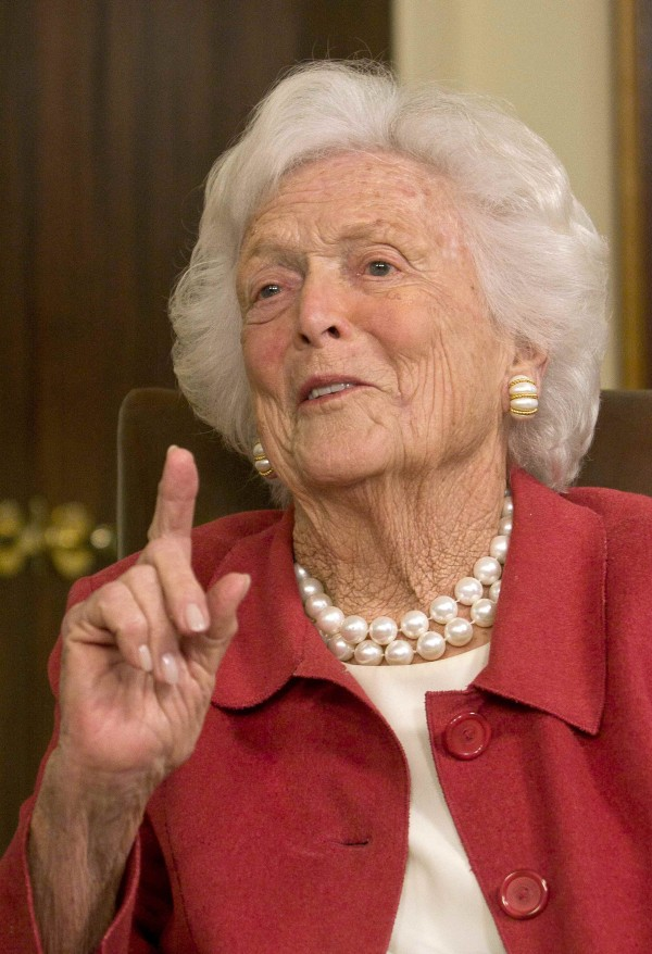 Former first lady Barbara Bush speaks during a news conference in Houston in March 2012.