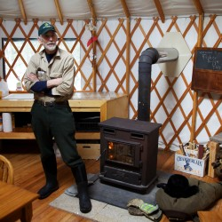 Bob Crowley, winner of the reality television series &quotSurvivor: Gabon,&quot stands in a yurt at Maine Forest Yurts in Durham. Crowley, a retired high school physics teacher, runs the 100-acre retreat with his family.
