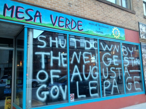 A graffiti sign on a Congress Street Mexican restaurant Wednesday afternoon.