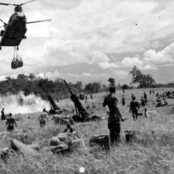 An CH-47 Chinook helicopter slings a load of artillery shells under its fuselage while approaching an Army artillery battery in action in South Vietnam. Days before Richard Batchelder of Dexter was involved in heavy combat on Nui Lon Mountain in Vietnam, he and his comrades loaded their gear for a similar Chinook to carry away. Then the soldiers boarded UH-1 helicopters for the short journey to the battlefield.