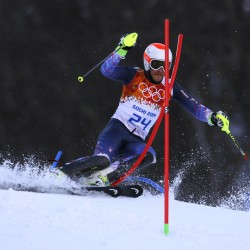 N.H. native Bode Miller competes in men's super combined slalom during the Sochi 2014 Olympic Winter Games at Rosa Khutor Alpine Center.