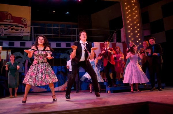 Ira Kramer, right, as Danny Zuko and Grace Livingston as Cha Cha DiGregoiro  perform with the cast of &quotGrease&quot in Hauck Auditorium at the University of Maine. The musical runs Wednesday through Sunday.