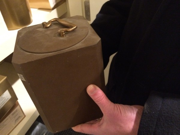 A heavy iron urn contains the remains of a Bangor-area man who died in 1951 and is the oldest of 82 unclaimed urns kept in storage at Brookings-Smith Funeral Home in Bangor.