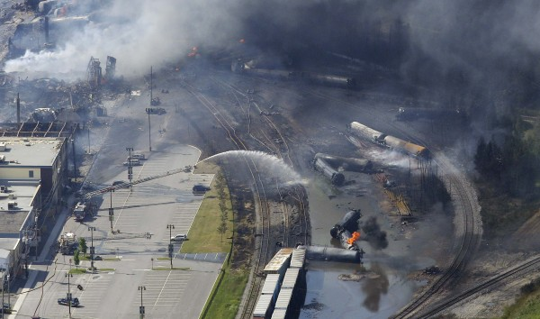 The wreckage of a train is pictured July 6, 2013, after an explosion in Lac-Megantic, Quebec.