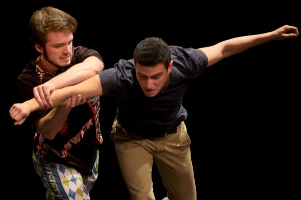 George Rowe battles Jorge Lara as the Jets and Sharks go at it during a &quotWest Side Story&quot rehearsal at Brunswick High School on Thursday.