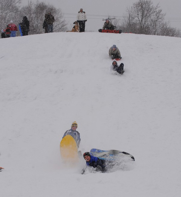 Hayford Park on Union Street in Bangor was busy with kids and adults sledding Wednesday afternoon.