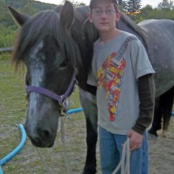 'Aisha' and one of her best friends, Mud Pony Club member Matthew Poitras