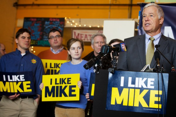 U.S. Rep. and Democratic gubernatorial candidate Mike Michaud speaks about his plan to build Maine's economy during a campaign event at Portland's Rosemont Market recently.
