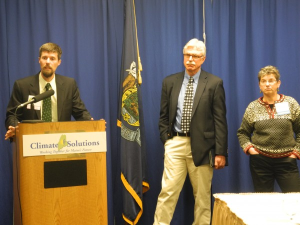 Fred Horch (left) and Stephen Mulkey, president of Unity College, speak Wednesday during a press conference at the Climate Solutions Expo and Summit in Augusta. Horch, a Green Independent candidate from Brunswick running for the Maine State Senate, helped to organize the event and called for more leadership from state government regarding climate change issues.