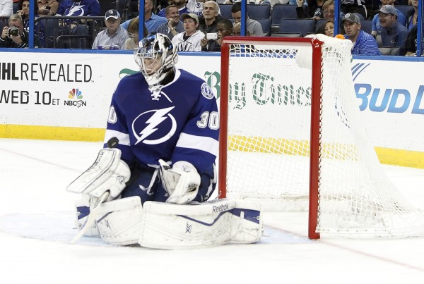 Tampa Bay Lightning goalie Ben Bishop makes a save against the Phoenix Coyotes during a game on March 10 at Tampa Bay Times Forum. Bishop, a former University of Maine star, has won 34 games with the Lightning this season.